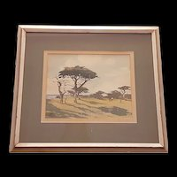 Vintage James March Phillips Watercolor of Cypress Point at Pebble Beach c.1950