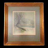 "Vintage Luigi Kasimir Signed Original Etching of: ""Duerstein In The Fog"" c.1930"