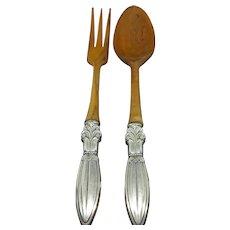 Antique F. Whiting Sterling & Teak Salad Serving Fork & Spoon c.1915 (4.2oz.)-Total