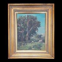 Antique John Dominique Oil Landscape c.1920