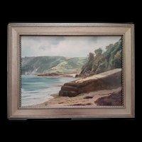 Vintage Oil Seascape of English Castle c.1930