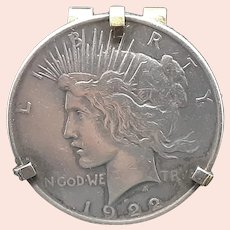 Antique Liberty Peace Dollar Money Clip with .900 Silver d.1922 (1.6oz)