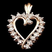 Vintage 10K Yellow Gold Pendant with Melee Diamond Gemstones c.1992 (1.5g)
