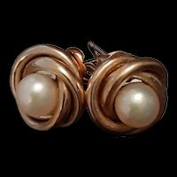 Vintage 14K Yellow Gold Earrings with Cultured Pearls c.1980 (1.5g)