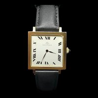Vintage Swiss 18K Solid Yellow Gold Movado Wristwatch with Blue Sapphire Crown & Leather Strap c.1960 (26g)