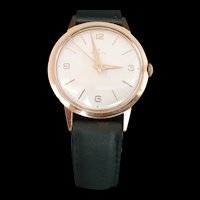 Vintage Swiss Gold Plate Zenith Men's Wristwatch with Leather Strap c.1950
