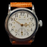 Antique Waltham Wristwatch with Porcelain Dial & Leather Strap c.1900