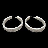 Vintage JCM Sterling Silver Hoop Earrings c.1985 (6g)