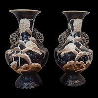Antique French Barbotine Majolica Pottery Vase Set c.1890 (6.2lbs)