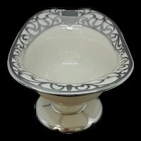 Antique Lenox White Porcelain Compote with Sterling Overlay c.1920 (8.6oz)