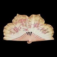 Antique English Old Hall Porcelain Works Ltd. Decorative Ceramic Fan c.1891 (1.2lbs.)