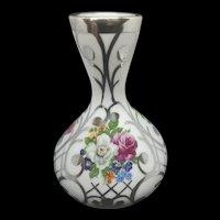 Vintage Spanish Porcelain Bud Vase with Silver Overlay c.1970 (2.8oz)