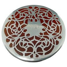 Antique Lenox Porcelain Trivet with .999 Sterling Overlay c.1910 (6.9oz)