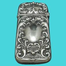 Antique Repousse Sterling Silver Match Safe d.1898 (20g)