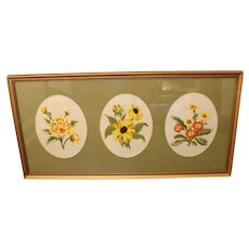 Finished/Framed With Glass Floral Needlepoint With 3 Oval Cutout Green Matt
