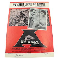 """1960 The Green Leaves Of Summer From """"The Alamo"""" John Wayne Vintage Sheet Music"""