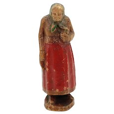 Syroco Wood Old Jewish Woman With Red Apron Carrying Holy Book Figurine