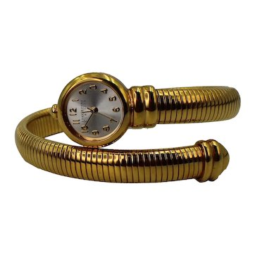 Joan Rivers Gold Tone Snake Bangle Bracelet Band Classics Watch With New Battery