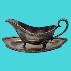 Gravy Boat & Underplate International Silver Wickford 1013 Silverplate