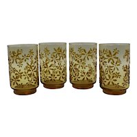 Libbey Amber Juice Tumblers with Raised Flowers 1960's