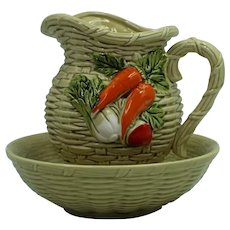 Lefton Basket Weave Pitcher And Bowl With Fruit