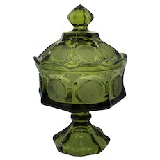 Fostoria Emerald Green Coin Glass Pedestal Candy Dish With Lid