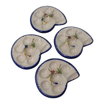 French Escargot Plates Hand Painted by St Clement Set of 4