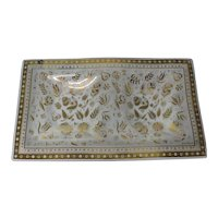 Georges Briard Gold Persian Garden Glass Double Serving Tray
