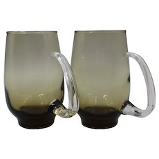 1960's Libbey Tempo Brown Smoke Glass With Clear Open D Handle Beer Mug Set