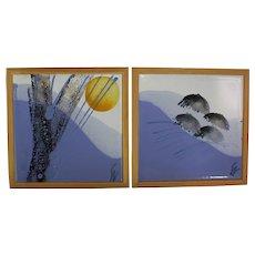 Signe Boesen Northroup Denmark Hand Painted Art Tiles/Trivets 1960's