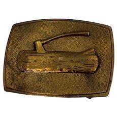 BSA Boy Scout Brass Wood Log With Axe Belt Buckle