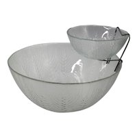 Arcoroc JG Durand Wheat Pattern Chip and Dip Bowl Set