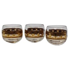 Culver Roly Poly Glasses  In The Festival Pattern Set of 3