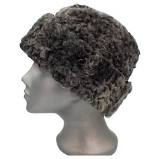 North King Grey/Black Persian Curly Lamb Wool Hat With Ear Flaps