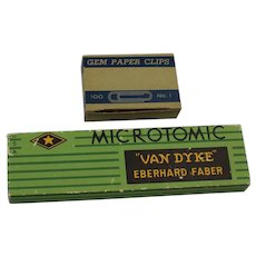 Gem Paper Clips Noesting And Microtomic Van Dyke Pencil Box Empty
