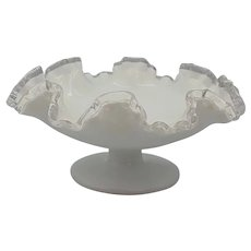 Fenton Small Silver Crest White Ruffled Footed Bowl