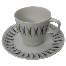Mikasa Rhythm Pattern Atomic Elite Tea Cup and Saucer