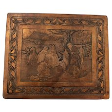French Hammered Brass/Wood and Engraved Copper Plate Humidor