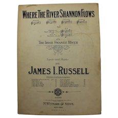 1905 Where The River Shannon Flows  Sheet Music