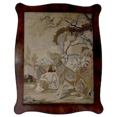 Antique Tapestry of Dogs in the Wilderness - Large 34x29