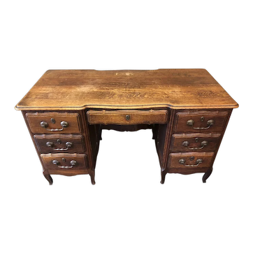 Tiger Oak Desk with 7 Drawers