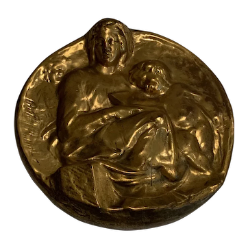 Antique Gold Madonna and Child Gilt Copper Wrap over Plaster circa 1920 - 8.5W x 8.75H x 2D