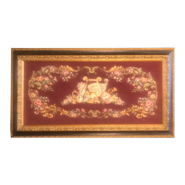 Vintage Framed Needlework of Musical Instruments Surrounded by Floral Accents - Large 36x20