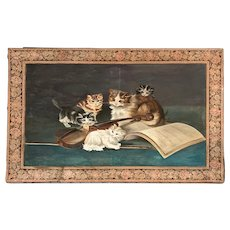 Painting of Cats with Violin and Music Book with Tapestry Border - Large 48x34