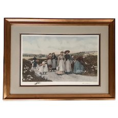 "Print of ""Berry Pickers"" by Jennie Brownscombe and After Etching by Jas. S. King - Large 45x35"