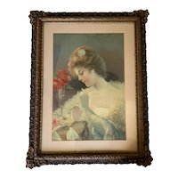 Vintage Print of Pink Lady in Gloves with Rose in Gold Frame - Large 26x20