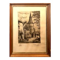 "Print Depicting Life in the French Village of Ammerschwihr in Wood Frame with Glass - 14.5""W x 19.25""T x 1""D"