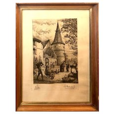 """Print Depicting Life in the French Village of Ammerschwihr in Wood Frame with Glass - 14.5""""W x 19.25""""T x 1""""D"""