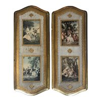 "French Prints Embossed on 2 Wood Frames with Gold Detail - Each 5.25""W x 13""T x 0.5""D"