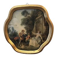 "Print of Victorian Style Man, Woman, and Child Flying a Kite with Gold Frame under Glass - 12.25""W x 12.25""T x 1""D"